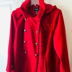 Jackets & Blazers - Ladies Size 24 red coat with hood.